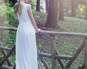White Lace Wedding Dress Long Wedding Gown - Handmade by SuzannaM Designs