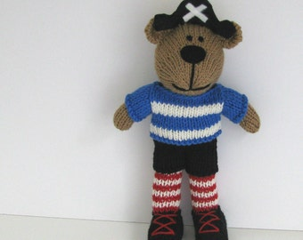 Pirate Knitted Bear - Child Toy - Hand Knit Bear - Pirate Stuffed Animal Toy - Small Toy - Pirate Doll - Kids Toys -Teddy Bear Pirate Jack