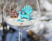 Miniature Beach in a WINE GLASS - Wine Glass INCLUDED - The Beach is My Happy Place  - by Landscapes In Miniature
