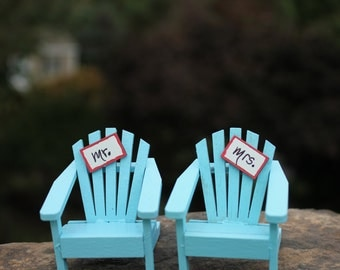 "Set of TWO Miniature ""Mr."" and ""Mrs."" Signs or NAME SIGNS  for your Wedding Cake Topper  - by Landscapes In Miniature"