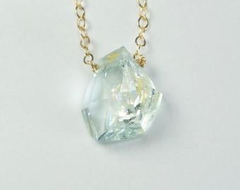 Aquamarine . serenity . Tavernier candy gem necklace