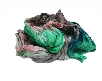 silk scarf - Garden Dream -  green, pink, brown silk scarf.