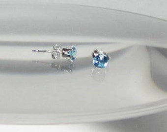 Gemstone Studs Swiss Blue Genuine Authentic Topaz Faceted Stone Tiny 4mm Stud Earrings Sterling Silver or 14Kt Gold Filled
