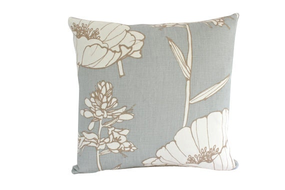 Light Blue Blue Poppyfiled Pillow Cover with Large Flower