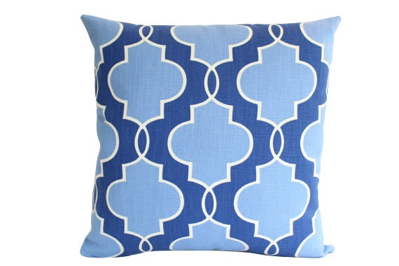 Designer Pillow Cover in Blue Geometric Pattern