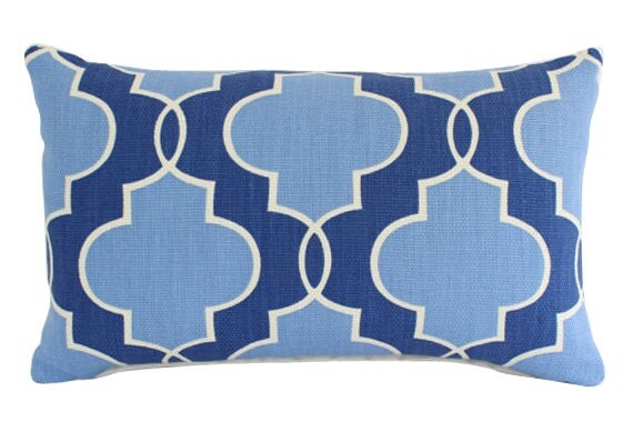 Lumbar Pillow Cover with Blue and Ivory Geometric Design