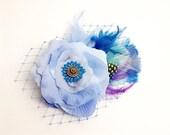 Light Blue Rose Fascinator Bridal Hair Clip Accessory, Romantic wedding Feathers Antique Button, original unique
