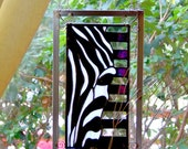 Stained Glass Zebra Animal Art Wall Sculpture Africa Wildlife Black and White Art Fine Art Unique Art