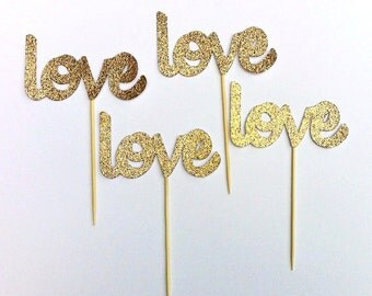 Gold Love Cupcake toppers- Cupcake Toppers