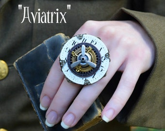 Steampunk Ring, Poison Ring, Pocket Watch Ring with Propeller, Compass, Clock face, Adjustable Ring By AlchemyDivine