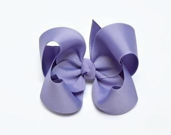 Lilac Purple Hair Bow, 4 inch hair bow, Toddler hair bows, Girl hair clips, Medium hairbow, Alligator clip, Barrette, Snap clip, 400