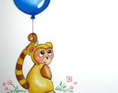 Baby Monkey With Balloon, 3-D Bubble Lettering, Personalized 8X10 Watercolor Name Painting