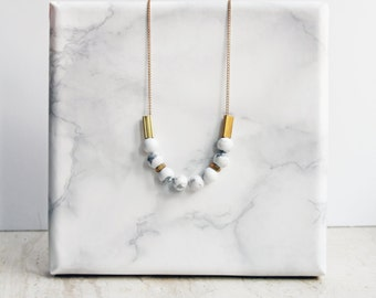 Marble necklace - white howlite and brass