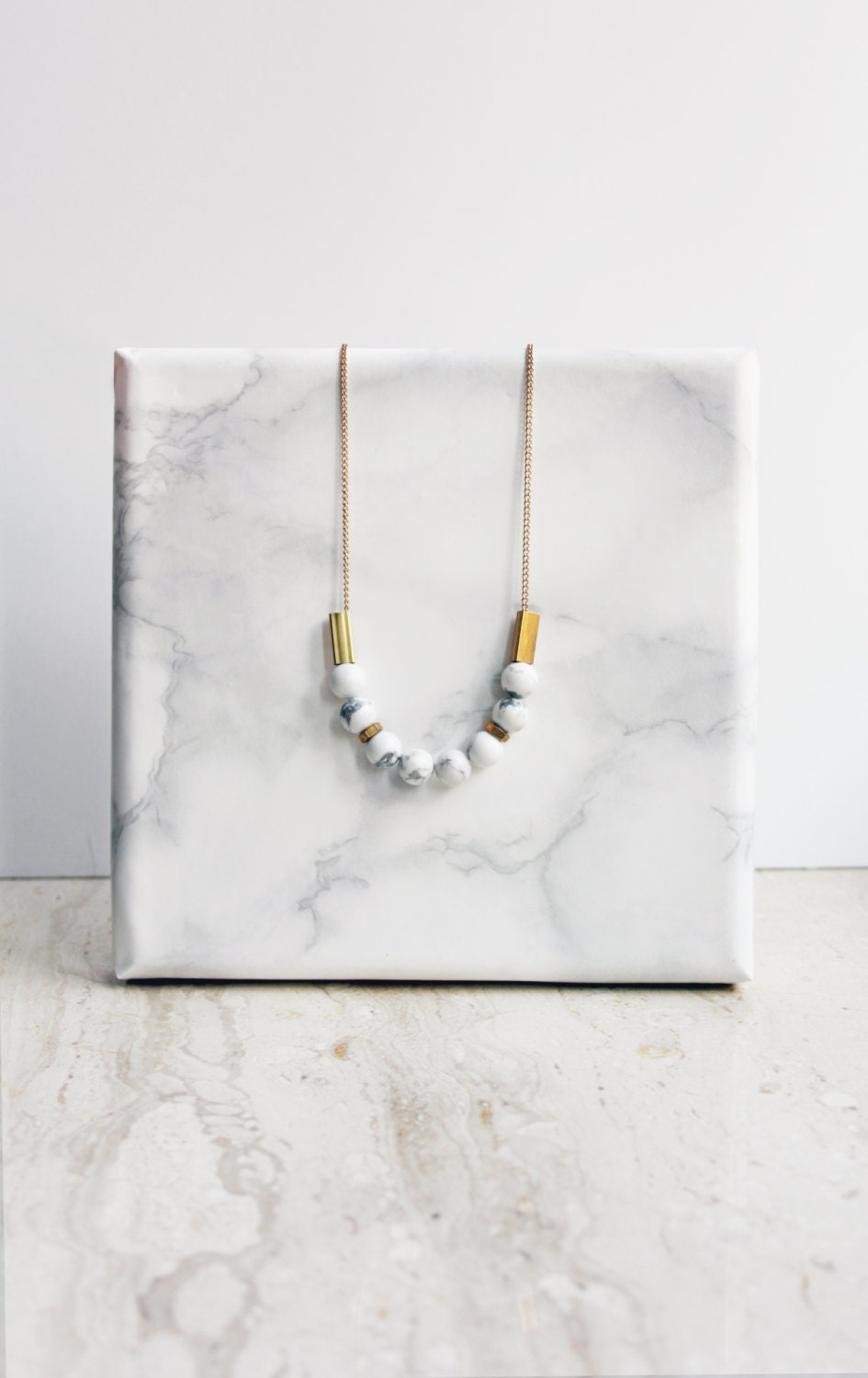 Marble necklace white howlite and brass for How to make marble jewelry