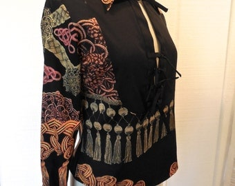 Vintage 90s Just Cavalli Top in Black with Gold Tassel Rope Design Long Sleeve with Ties