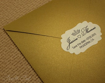 30 Personalized stickers Labels with crown Wedding envelope seals Custom Save the date sticker Royal save the date label