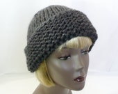 Gray Russian-Style Hat, Hand Knit Dark Gray Hat, Stormy Weather Gray Hat, Wool Ski Cap, Cossack Hat, Warm Winter Hat, Handmade in the USA