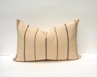 SALE! Natural Linen Pillow With Black Vertical Pinstriping 12 x 18 Model