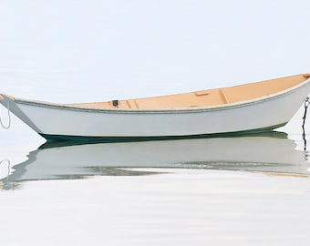Nautical Wall Art Nantucket Photography Boat Photo Dory Harbor Skiff Rowboat Picture Large Wall Art Coastal Beach Decor White Beige Grey