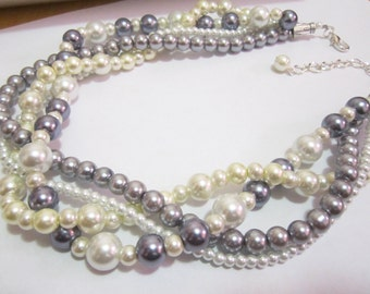 Multi strand necklace, Twisted Pearl necklace, Wedding necklace, Bridesmaid jewelry, Ivory, white and gray pearls