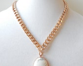 Howlite Statement Necklace rose gold necklace marble pendant statement jewelry HEART OF STONE