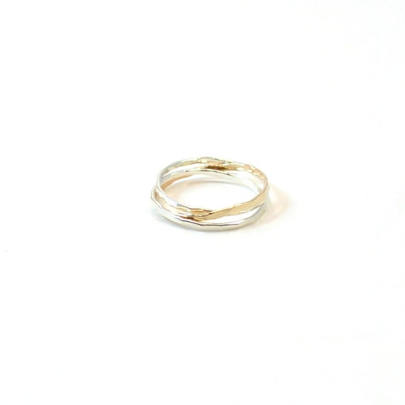 Skinny Silver and Gold Rolling Rings. Interlocking Bands
