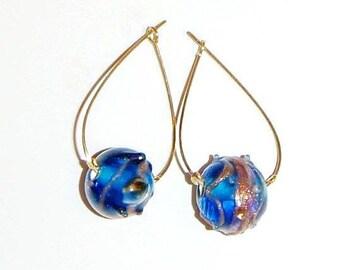 SALE // Gold Tear Drop Hoop Earrings with Blue Glass Beads, Tear Drop Earrings, Dainty Gold Earrings, Simple Blue Earrings