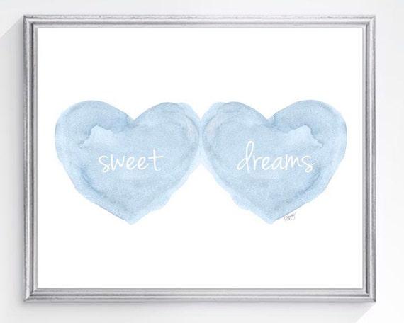 Sweet Dreams Print in Blue for Baby Boy Nursery Art, 8x10