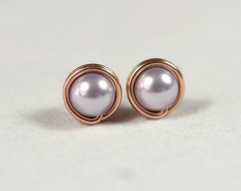 Rose Gold Lavender Pearl Stud Earrings Wire Wrapped Jewelry Handmade Rose Gold Earrings Lavender Earrings Swarovski Pearl Earrings