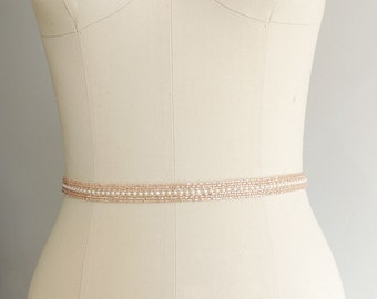 Rose Gold Thin Beaded Bridal Belt Sash - Wedding gown sash - Bridesmaids - Wedding Belt, Crystal Rhinestone Belt, Bridesmaids, MOH | MAVA