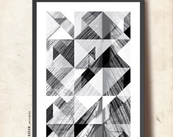 """Affiche scandinave. Geometric art print. Tangram black and white wall art A3. Posters and prints. """"Reflections of Me"""", TANGRAMartworks"""