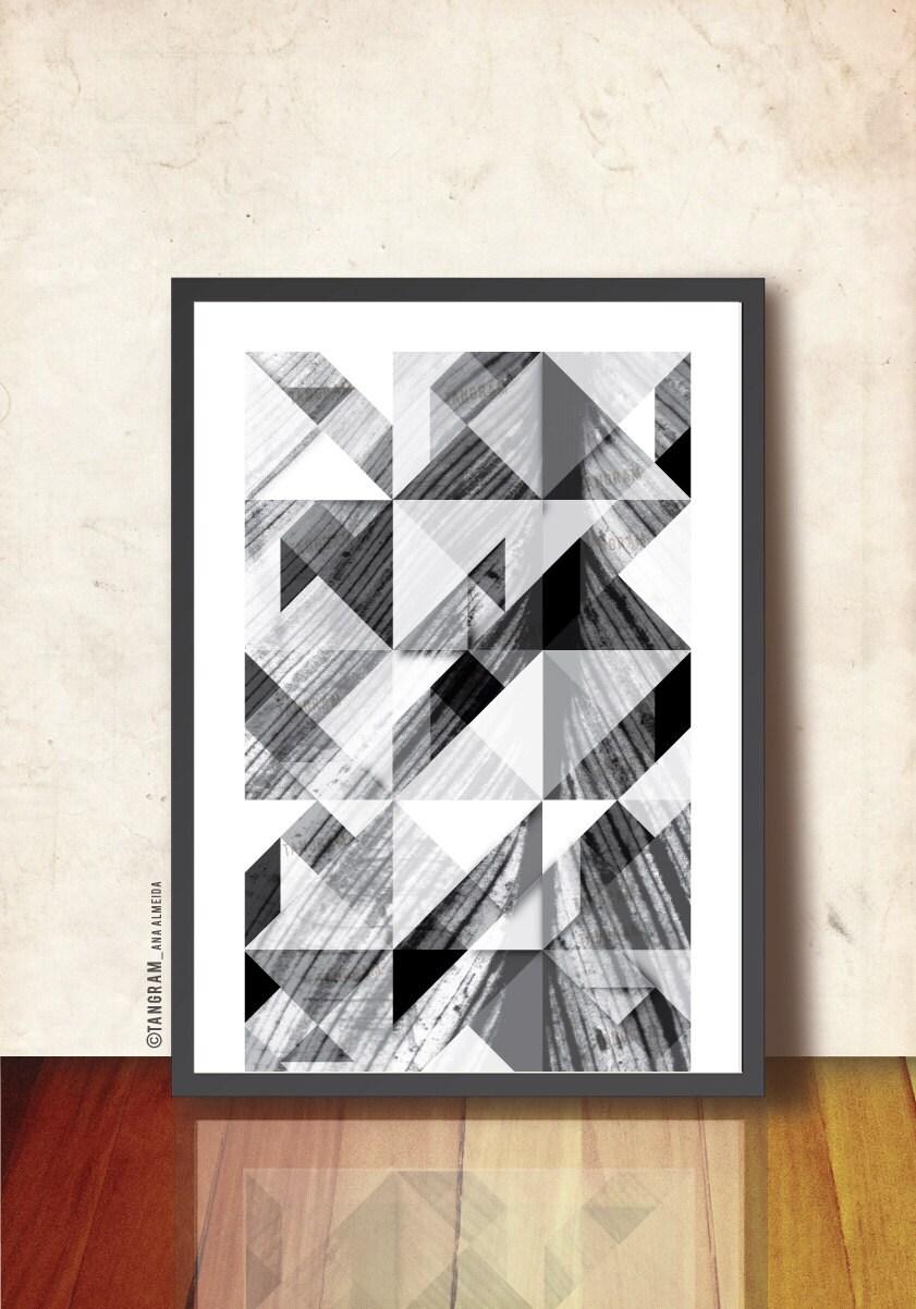 noir et blanc art mural imprim g om trique affiche. Black Bedroom Furniture Sets. Home Design Ideas