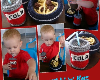 Play Food- Crocheted Bowl of Spaghetti and Meatballs with a can of Cola