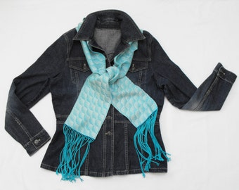 Turquoise Silk Scarf Handwoven, Hand Dyed Silk Scarf, White and Light Blue Scarf Spring, Hand Woven Scarf Ladies, Blue and White Scarf Men