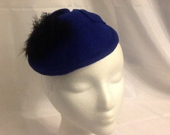 Blue Felt Fascinator with Black Feathers