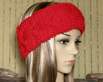 Headband, Chunky Knit Cable Head Wrap, Womens Red Ear Warmer, Wool Hippie Hair Wrap Turban