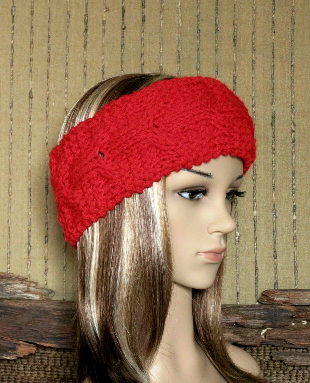 Headband Chunky Knit Cable Head Wrap Womens Red Ear Warmer