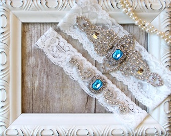 CUSTOMIZE Your Garter Set - Wedding Garter w/ toss - Blue Garter, Something Blue, Crystal Garters, Bridal Garter, Rhinestone Garter