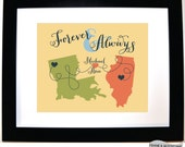 Custom Couple Anniversary Print Long Distance Relationship Any Map Personalized Military Christmas Present for Girlfriend Forever and Always