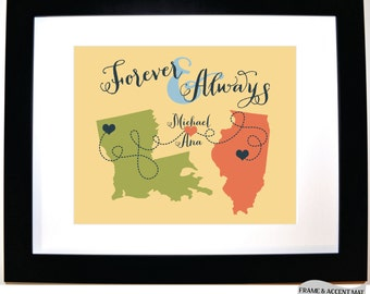 Custom couple anniversary print, valentines day gift for girlfriend forever and always, long distance relationship any map personalized
