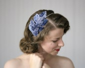 "Cornflower Blue Hair Accessory, Powder Blue Headband, Leaves Fascinator, Leaf 1950s Headpiece - ""Whispering Winds"""