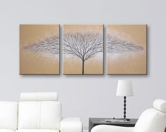 Canvas Art Wall Art Brown Paintings Tree of Life Wall Decor Home Decor Wall Hanging Large Tree Paintings 48x20 Original Artwork