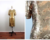 VTG Gold Sequin Dress • Gold Sequined Bridesmaid Dress • Gold Mini Dress • Golden Chevron Deco Dress