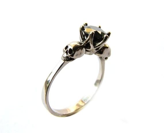 Skull Engagement Ring Black Diamond White Gold Memento Mori Skull Natural Diamond  Ring Skull Ring Goth