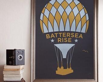 Battersea Rise A2 Screenprint / Battersea Power Station Screenprint, Hot Air Balloon Poster, Metallic Screenprint, London Screenprint