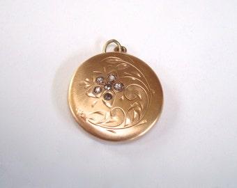 Antique Gold Locket - Large Gold Filled Pendant Keepsake Locket for Necklace