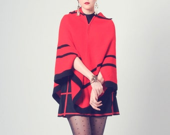 1970s bright scarlet red knit poncho with black trim and stripes, vintage collared cape style outerwear by Elite