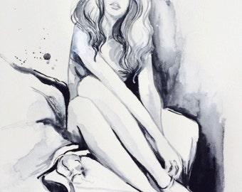 Parisienne Watercolor Fashion, Watercolor Portrait, Original Painting by Lana Moes, Paris Illustration, Fashionista Home Decor, Bridgette
