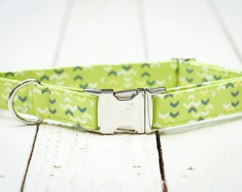 Male Dog Collar,  Lime Green, Blue Chevron, Arrows, Pet Collar with Metal Buckle