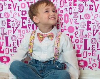 Suspenders and Bowtie Set Holiday and Special Occasion Valentine Birthday MADE TO ORDER One Size Youth